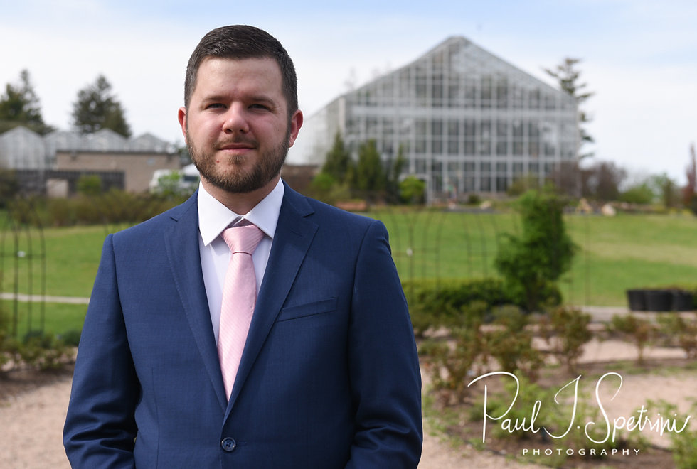 Gary waits for Ali to arrive to their first look prior to his May 2018 wedding ceremony at the Roger Williams Park Botanical Center in Providence, Rhode Island.