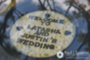 A sign on display during Latasha and Justin's May 2016 wedding at Country Gardens in Rehoboth, Massachusetts.