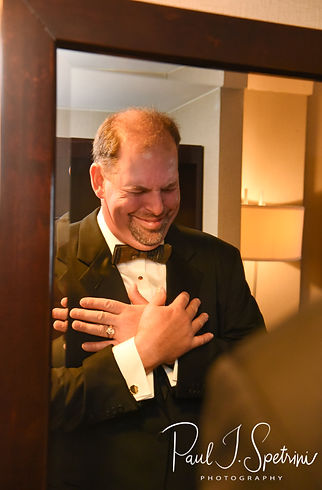 Bob laughs prior to his August 2018 wedding ceremony at the Walter J. Dempsey Memorial Bandstand in Norwood, Massachusetts.