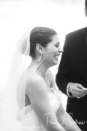 Kendra smiles during her May 2018 wedding ceremony at Crystal Lake Golf Club in Mapleville, Rhode Island.