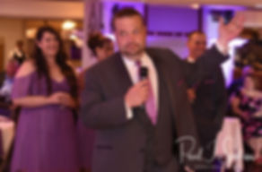 One of the best man gives a toast during Beth & Bryan's August 2018 wedding reception at McGovern's on the Water in Fall River, Massachusetts.
