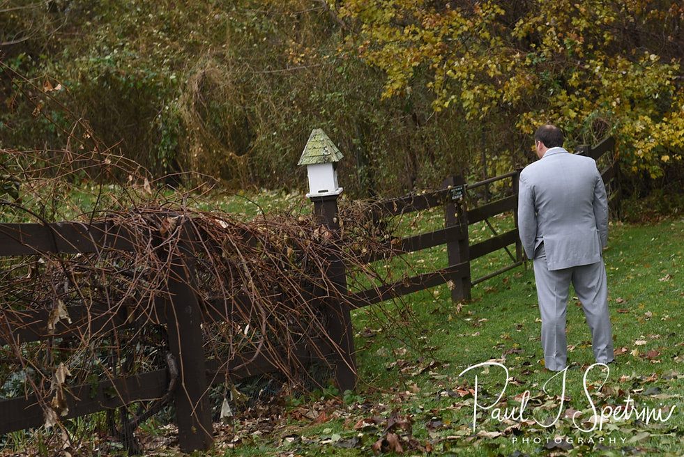 Rich waits for Makayla to arrive to a first look prior to his October 2018 wedding ceremony at Zukas Hilltop Barn in Spencer, Massachusetts.