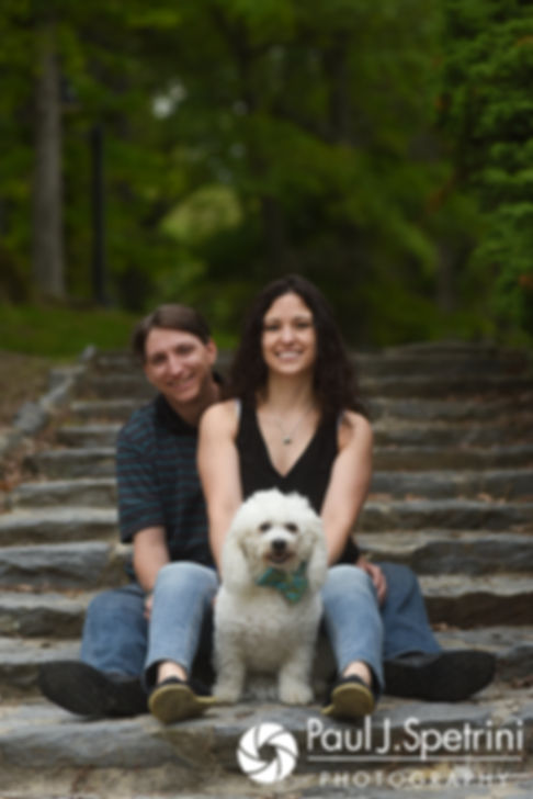 Amanda and Josh pose with their dog for a photo at Goddard Park in East Greenwich, Rhode Island during their May 2017 engagement photo session.
