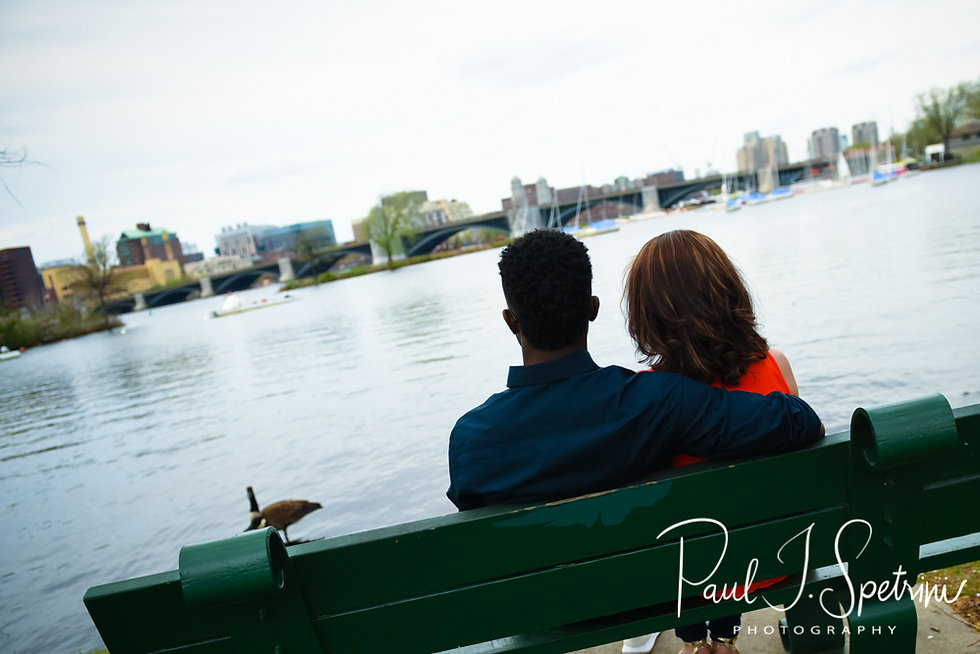 Courtnie and Richie pose for a photo during their May 2018 engagement session in Boston, Massachusetts.