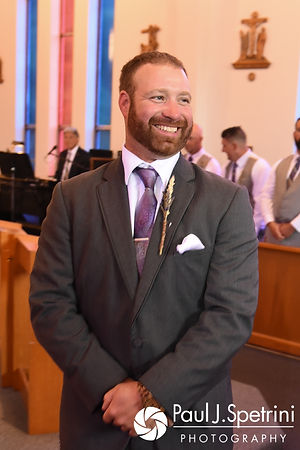 Dale smiles as he sees Samantha arrive during his October 2017 wedding ceremony at St. Robert's Church in Johnston, Rhode Island.