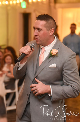 The best man gives a speech during Amanda & Justin's November 2018 wedding reception at Five Bridge Inn in Rehoboth, Massachusetts.