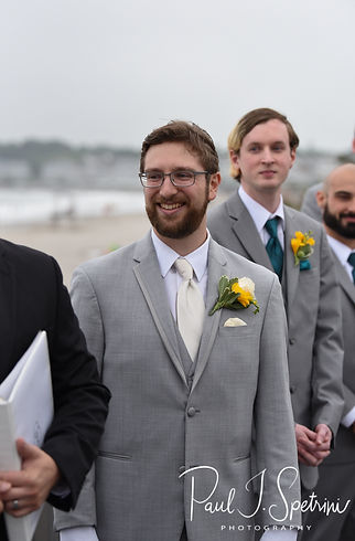 Justin looks at Amber during his June 2018 wedding ceremony at North Beach Clubhouse in Narragansett, Rhode Island.