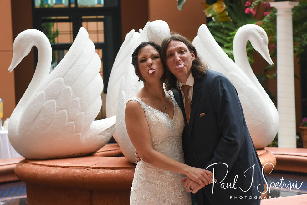 Amanda and Josh stick their tongues out during their October 2018 wedding ceremony at the Walt Disney World Swan & Dolphin Resort in Lake Buena Vista, Florida.