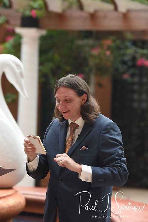 Josh reads his vows to Amanda during their October 2018 wedding ceremony at the Walt Disney World Swan & Dolphin Resort in Lake Buena Vista, Florida.