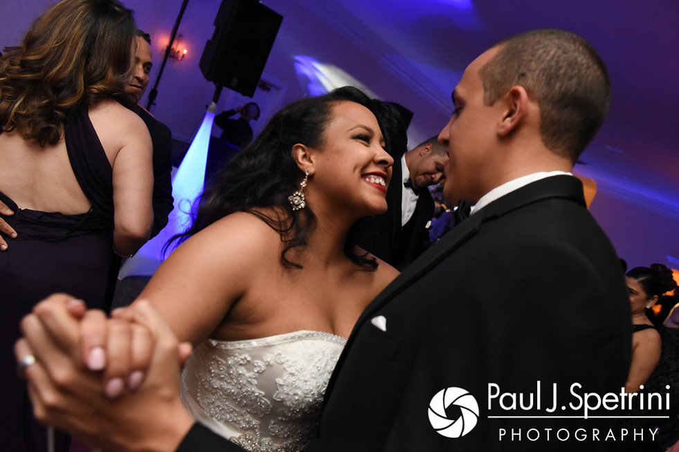 Stephany and Arten dance during their September 2017 wedding reception at Wannamoisett Country Club in Rumford, Rhode Island.