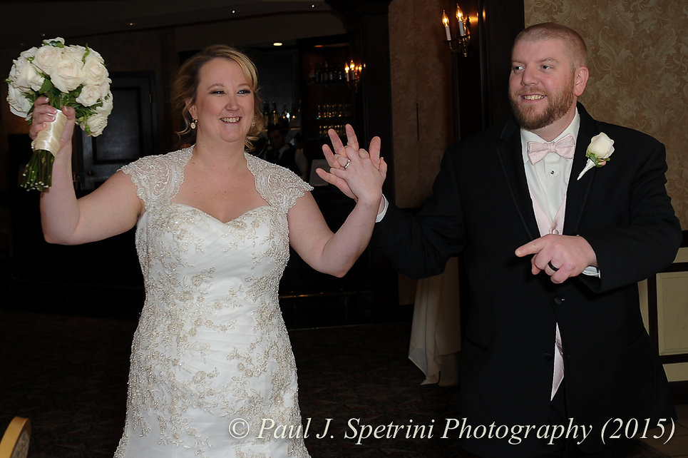 Kerry and Adam are introduced at their fall wedding at Quidnessett Country Club in North Kingstown, Rhode Island on October 23rd, 2015.