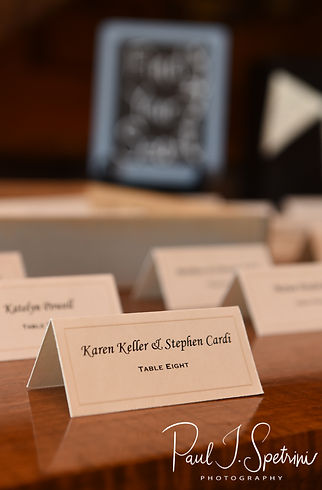 A look at the placecards prior to Ryan & Mike's May 2018 wedding reception at Bittersweet Farm in Westport, Massachusetts.