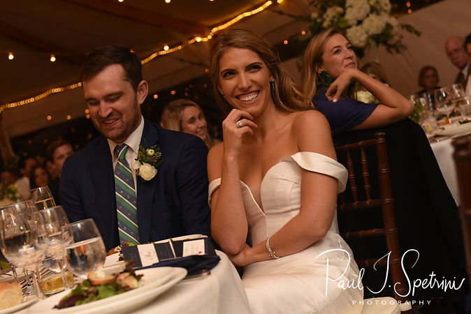 Whitney smiles during the maid of honor's speech during her October 2018 wedding reception at Castle Hill Inn in Newport, Rhode Island.