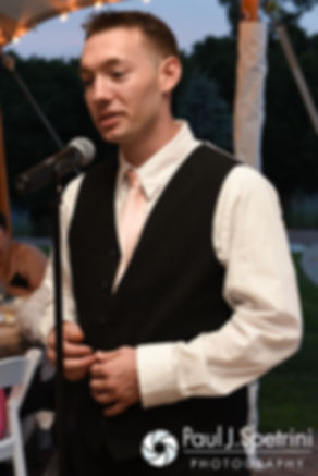 Justin's brother gives a speech during his July 2016 wedding reception at the Overlook at Geer Tree Farm in Griswold, Connecticut.
