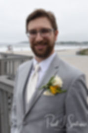 Justin smiles prior to his June 2018 wedding ceremony at North Beach Clubhouse in Narragansett, Rhode Island.