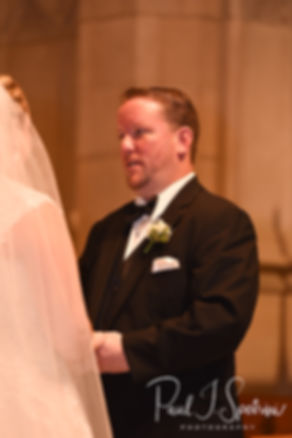 Patrick reads his vows during his September 2018 wedding ceremony at St. Paul Church in Cranston, Rhode Island.