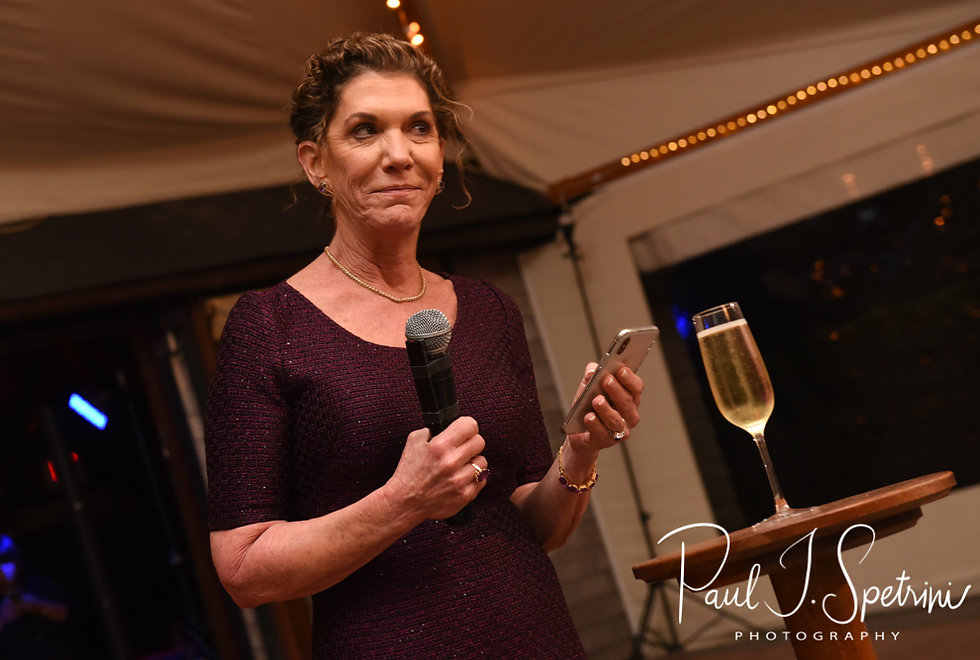 The mother of the bride gives a speech during David & Whitney's October 2018 wedding reception at Castle Hill Inn in Newport, Rhode Island.