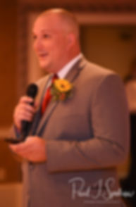 The best man gives a toast during Justine & Jon''s October 2018 wedding reception at Twelve Acres in Smithfield, Rhode Island.