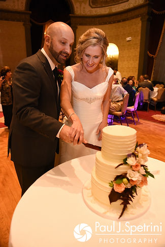 Tricia and Kevin cut the cake during their October 2017 wedding reception at the Providence Biltmore in Providence, Rhode Island.