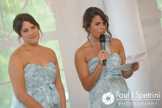 Jennifer's sisters give a toast during Jennifer and Bruce's August 2017 wedding reception at The Inn at Mystic in Mystic, Connecticut.