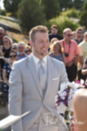 Bryan looks at Beth during his August 2018 wedding ceremony at Fort Phoenix in Fairhaven, Massachusetts.