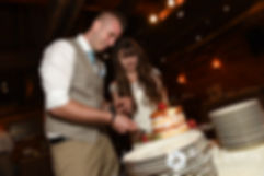 Krystal and Ian cut the cake during their May 2016 wedding reception at DeWolf Tavern in Bristol, Rhode Island.