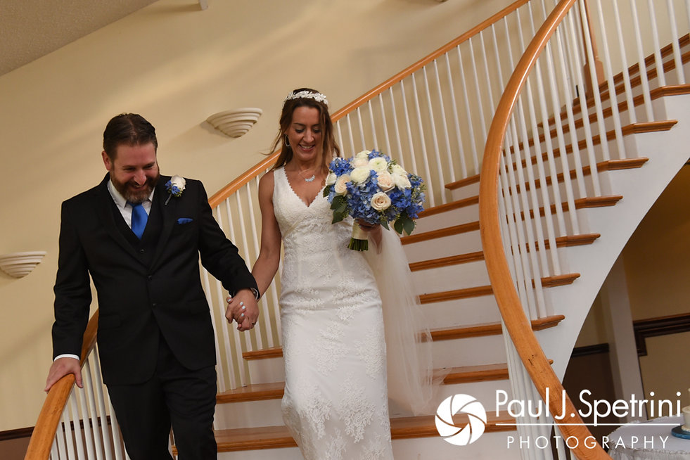Kevin and Joanna walk down the stairs and arrive to their October 2017 wedding reception at Cranston Country Club in Cranston, Rhode Island.