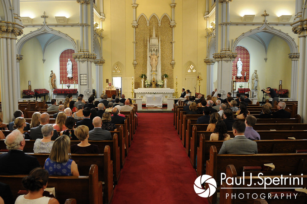 A look at the church during Jennifer and Bruce's August 2017 wedding ceremony at St. Joseph Church in New London, Connecticut.