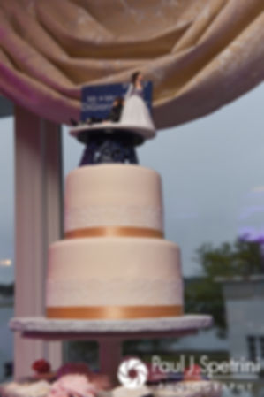 A look at Stacey and John's wedding cake, on display prior to their September 2017 wedding reception in Warren, Rhode Island.