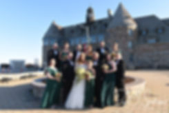 Cara & Brandon pose for a formal photo with their wedding party prior to their November 2018 wedding reception at the North Beach Clubhouse in Narragansett, Rhode Island.