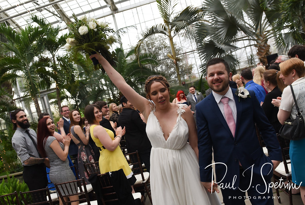 Ali and Gary smile following their May 2018 wedding ceremony at the Roger Williams Park Botanical Center in Providence, Rhode Island.