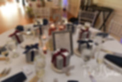 A look at the table settings, on display during Jimmy & Saken's July 2018 wedding reception at Lake Pearl in Wrentham, Massachusetts.