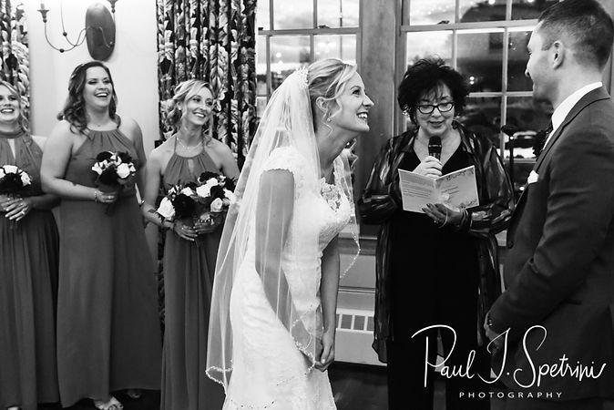 Nicole and Kurt laugh during their November 2018 wedding ceremony at the Publick House Historic Inn in Sturbridge, Massachusetts.