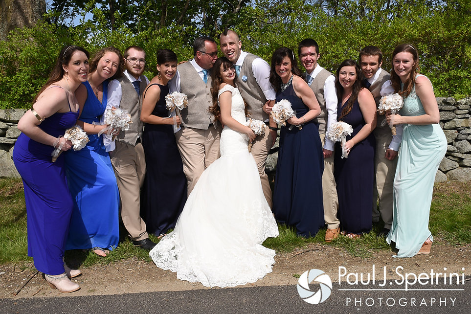 Krystal and Ian pose for a formal photo with their wedding party following their May 2016 wedding at Colt State Park in Bristol, Rhode Island.