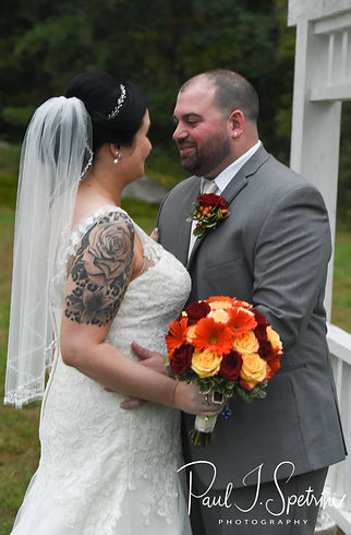 Justine & Jon pose for a formal photo following their October 2018 wedding ceremony at Twelve Acres in Smithfield, Rhode Island.