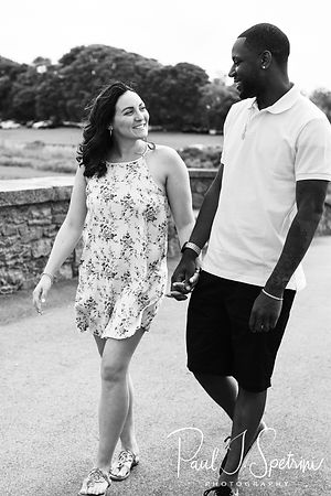 Amanda & Terrance pose for a photo during their June 2018 engagement session at Colt State Park in Bristol, Rhode Island.