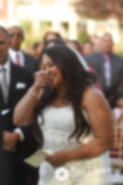 Stephany gets emotional during her September 2017 wedding ceremony at Wannamoisett Country Club in Rumford, Rhode Island.