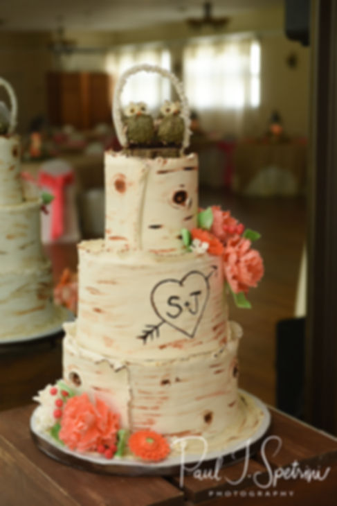 A look at the cake prior to Jacob & Stephanie's June 2018 wedding reception at Foster Country Club in Foster, Rhode Island.