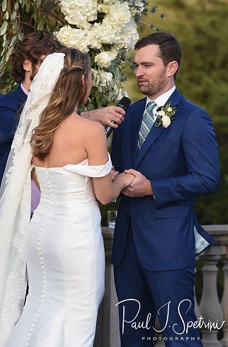 David smiles at Whitney during his October 2018 wedding ceremony at Castle Hill Inn in Newport, Rhode Island.