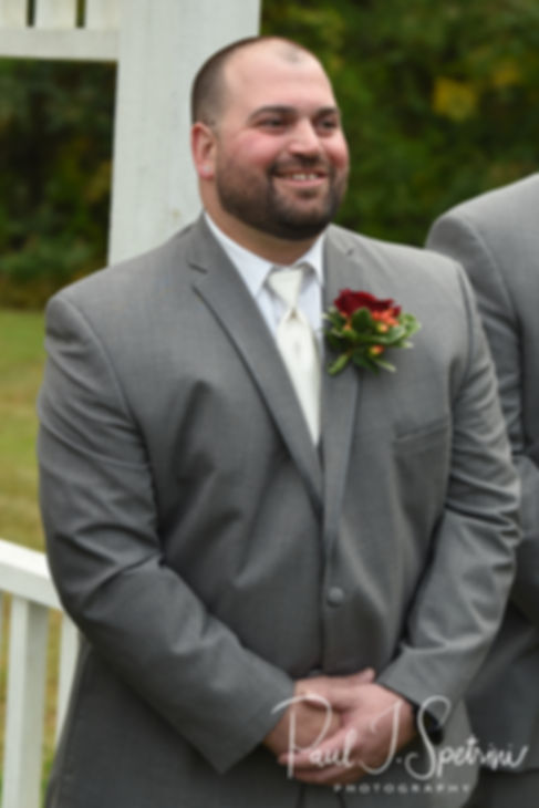 Jon smiles as he sees Justine during his October 2018 wedding ceremony at Twelve Acres in Smithfield, Rhode Island.