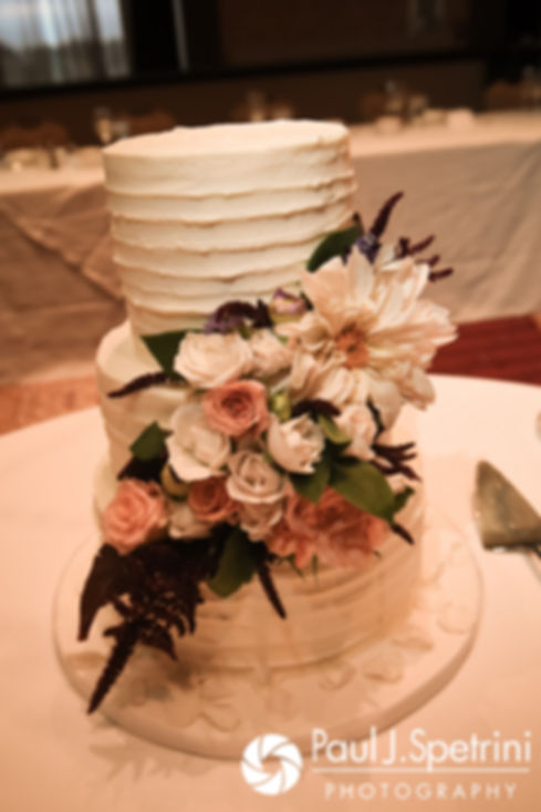 A look at the wedding cake prior to Tricia and Kevin's October 2017 wedding reception at the Providence Biltmore in Providence, Rhode Island.