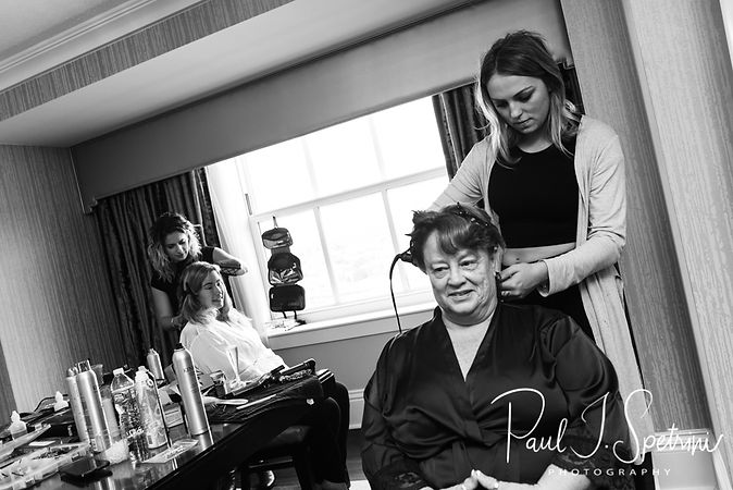 Sarah has her hair done at the same time as her mother during her bridal prep session at The Omni Hotel in Providence, Rhode Island prior to her October 2018 wedding.