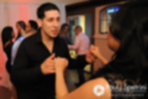Guests dance at Maria and Sebastian's March 2016 wedding reception at Falores Restaurant in Pawtucket, Rhode Island.