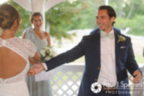 Jennifer and Bruce share their first dance during their August 2017 wedding reception at The Inn at Mystic in Mystic, Connecticut.