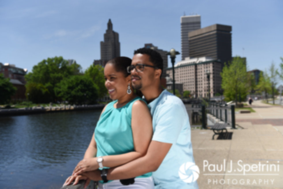 Lucelene and Luis pose for a photo near the Providence River in Providence, Rhode Island during their May 2017 engagement shoot.