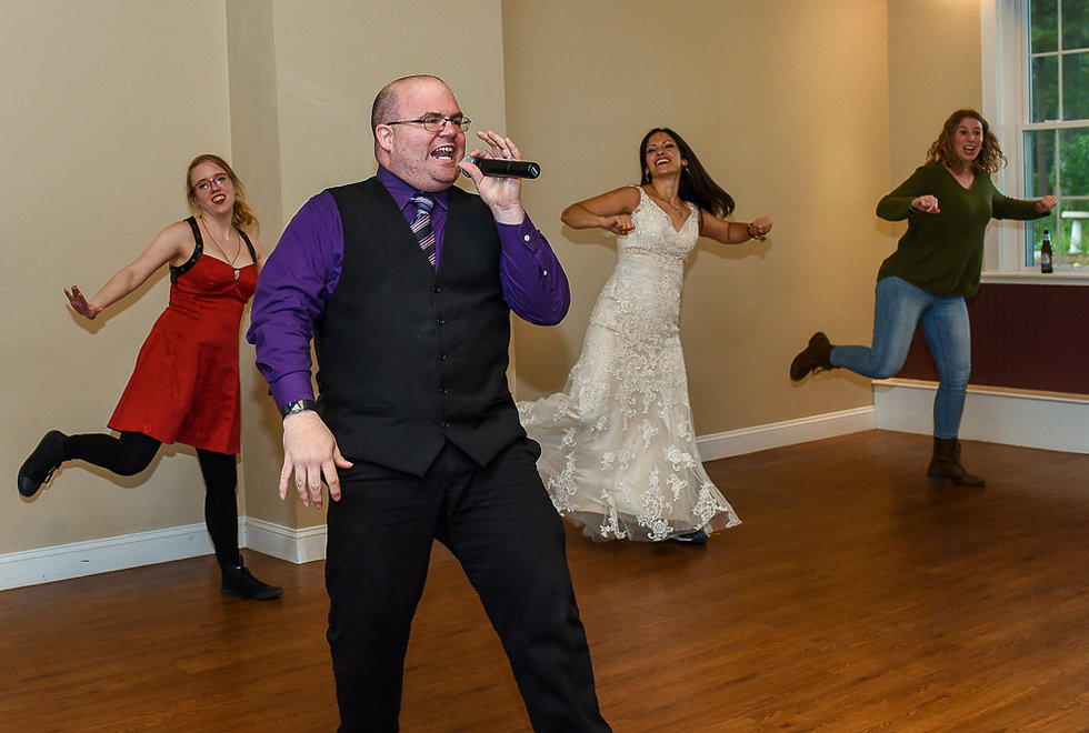 Paul singsduring Amanda & Josh''s October 2018 wedding reception at Loon Pond Lodge in Lakeville, Massachusetts.