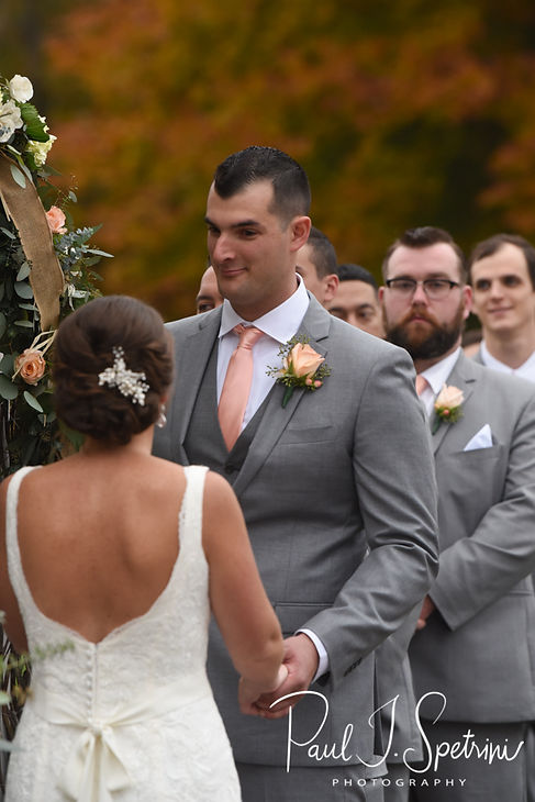 Justin looks at Amanda during his November 2018 wedding ceremony at Five Bridge Inn in Rehoboth, Massachusetts.