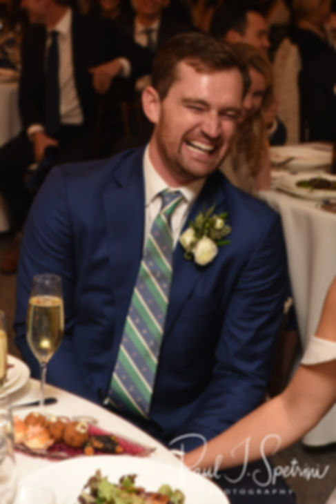 David laughs at the best man's speech during his October 2018 wedding reception at Castle Hill Inn in Newport, Rhode Island.