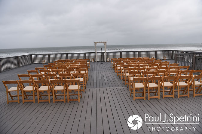 A look at the ceremony space prior to Arielle and Gary's September 2017 wedding ceremony at North Beach Club House in Narragansett, Rhode Island.