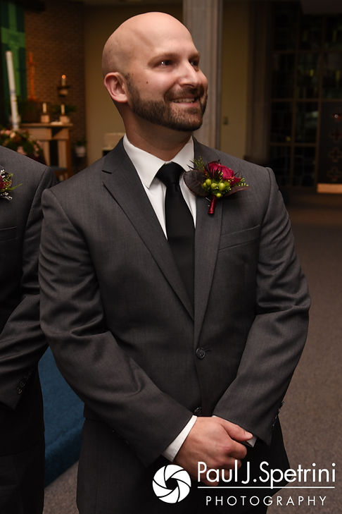 Kevin smiles as he sees Tricia during his October 2017 wedding ceremony at St. Brendan Parish in Riverside, Rhode Island.